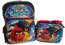 "Angry Birds Large School 16"" Backpack Boy's Book & Lunch Bag set 2 pcs NEW"