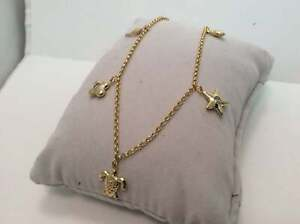 Star,Turtle, Dolphin CZ Rolo Chain Charm Ankle Bracelet Real 10K Gold 5.6gr 10''
