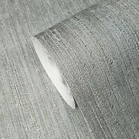 Modern Gray silver metallic faux fabric textured stria lines texture Wallpaper