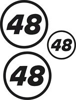 3x Custom Race Rally Numbers Door Window stickers motorsport JDM trackday car