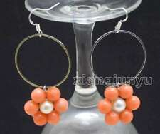 Metal Ring White Pearl Dangle Earring Fashion Pink Coral Earring for Women 28mm