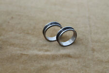 2 pcs. beautiful made damascus steel silver liner inside ring 20 mm/ 10 US SIZE