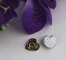 100PCS Golden Spiral Heart Acrylic Rhinestone Flatback 13mm #22041