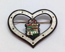 Antique Canadian Enamel Crest Heart Brooch Large Victorian Pin Canada Souvenir