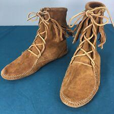 Minnetonka 922 Brown Suede High Tramper Mens Moccasins Hardsole Fringe Shoes 6