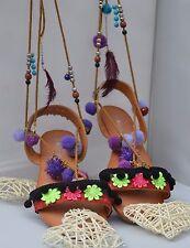 Ladies Gladiator Lace Up Sandals Bohemian Pompoms Sandals Festival UK 8 NEW