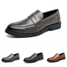 Mens Pointy Toe Work Office Slip on Retro Business Leisure Faux Leather Shoes L