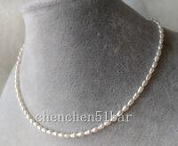 echte kultivierte Mini 3-3.5mm weiße Süßwasser Perlenkette 17 Zoll