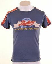 REPLAY Mens Graphic T-Shirt Top XS Blue Cotton  CT01