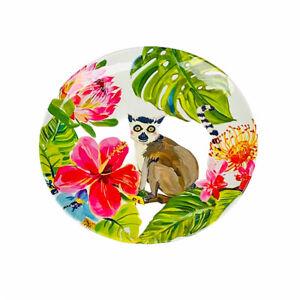 Pier 1 Imports Tropical Palms Ring Tail Lemur Monkey Melamine Salad Plates Set 4