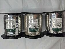 Lot of 3, lg rolls of curling ribbon, silver