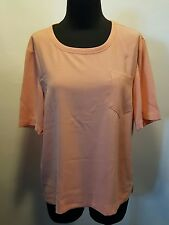 St. John Peach Melon Silk Poly One Pocket Short Sleeve Knit Suit Dress Top S Euc