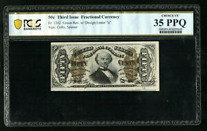"""FR 1342 50c Fractional Currency with Green Rev """"a"""" PCGS 35PPQ  Ch VF"""