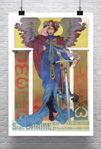 Omega Antique French Bicycle Advertising Poster Canvas Giclee Print 24x34 in.