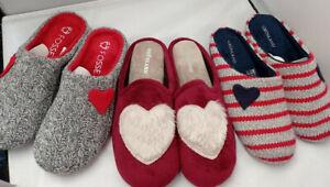 QUALITY WOMENS HEART PLUSH SLIP ON NOVELTY WARM COSY SLIPPERS LADIES UK SIZE 4