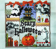 "New Completed finished cross stitch needlepoint""HAPPY HALLOWEEN""home decro"