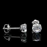 1.00 Ct Diamond Earrings Stud 14K White Gold Round Brilliant Cut Studs VVS1