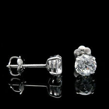 14KT White Gold 1.00 Ct Diamond Earrings Stud Round Brilliant Cut VVS1/D