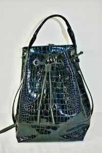 Opening Ceremony Black Patent Leather Embossed Crocodile backpack Size Large  sn