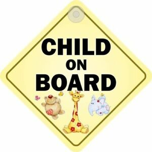 Child On Board Window Sign Suction Cup Diamond
