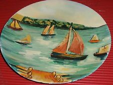 VINTAGE HANDPAINTED PORCELAIN PLATE 10 INCHES SAILBOATS  CHINESE