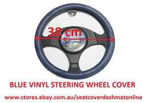 BLUE VINYL STEERING WHEEL COVER FIT SUBARU LIBERTY,FORESTER,IMPREZA,OUTBACK,