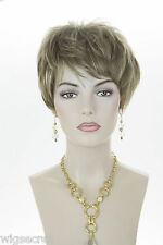 Light Ash Brown  Champagne Blonde Frost Blonde Short Straight Wigs