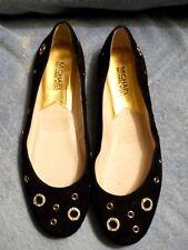 Michael Kors Black Suede Slip On Dress Flats Size 6.5 M New No Box