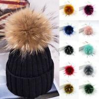 Women Faux Raccoon Fur Pom Pom Ball for Knitting Hat DIY Keychain Bag Pandent