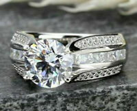 Solid 14k white Gold 3.89ct Round cut Solitaire Diamond Engagement Ring Band