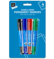 4pc Assorted Colour Permanent Marker Set Double Ended Chisel Bullet Tip Pens