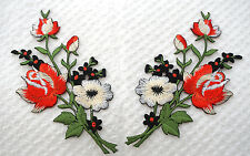 Red White roses pair flowers floral boutique Embroidered Sew Iron on Patch