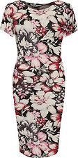 Plus Womens Midi Dress Ladies Floral Print Short Sleeve Stretch Round Neck 14-28