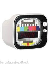 Reloj Despertador tiempo Retro Mini TV LED Digital de viaje de mesilla de noche