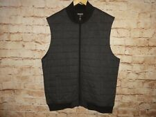 Men's Michael Kors Vest Black Gray Herringbone Size XL Cotton Zip Front Quilted