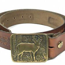 Vintage Western Cowboy Tooled Leather Belt Solid Brass Buckle Brown Mens 34 36