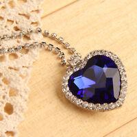 Charm Titanic Pretty Diamond Heart Of Ocean Blue Crystal Pendant Chain Hot!