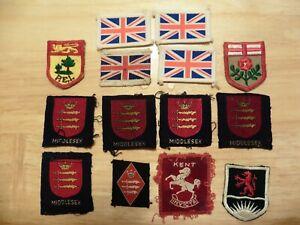14 SCOUT ASSOCIATION COUNTY AREA BADGES & U.K. IDENTIFICATION FLAGS