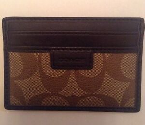 Coach Authentic Signature C Slim Card Case Wallet Khaki & Brown NWT