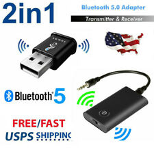 2-in-1 Bluetooth 5.0 Transmitter Receiver Wireless 3.5mm Audio Jack Aux Adapter