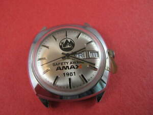 TIMEX MENS AMAX SAFETY 1981 UNUSED BATTERY WATCH SWEEP SECONDS NO RESERVE