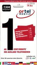 Ortel Mobile SIM-Karte inkl. 7,50€ Startguthaben (Inkl. Micro und Nano SIM)