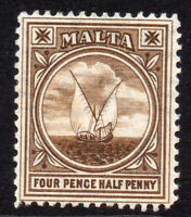 Malta 4 1/2d 1904-14 Mounted Mint Stamp Hinged (6745)