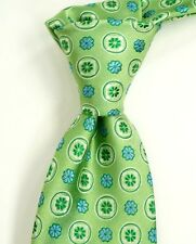 $95 NWT HUGO BOSS Satin Green Silk Neck Tie w/ Woven Floral ITALY