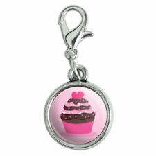 Strawberry Chocolate Cupcake Love Heart Bracelet Charm with Lobster Clasp