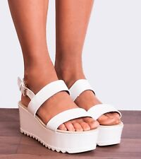 WOMENS CLEATED PLATFORMS WEDGED HIGH HEELS STRAPPY SANDALS WEDGES SUMMER SHOES