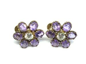 Designer Sterling Silver Gold Rhodium Plated Amethyst CZ Cluster Earrings