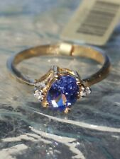 Tanzanite Oval Cut And Diamond Ring 10kt Solid Yellow Gold