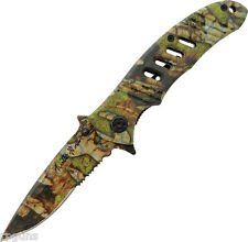 Turtleman Tactical Camo Partially Serrated Drop Point Folding Knife TM008 4 1/2""