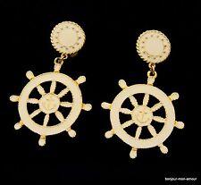 WOW Designer M. JENT Ruder Anker Marine Stil Nautical Ohrclips Ohrringe Earrings